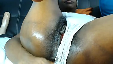 Ebony MILF Spreads Her Gaping Pussy and Fingers Her Asshole