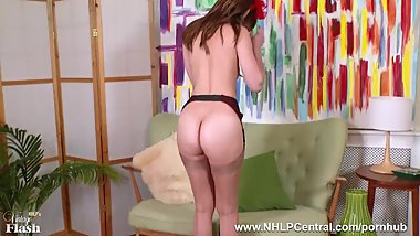 Gorgeous brunette Tracy Rose masturbates in red heels nylons and garters