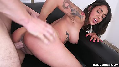 Tattooed Latina fucks hard for a load