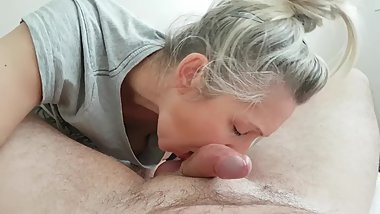 morning blow job cumshot mouth