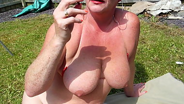 huge tit milf smoking