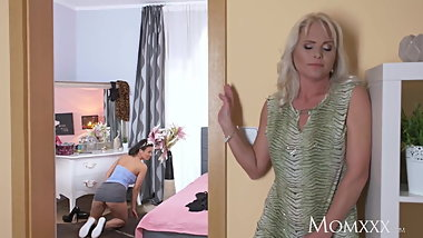 MOM Hot blonde Milf fucks sexy cleaner