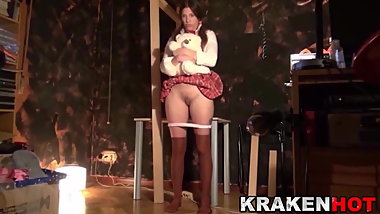 Submissive schoolgirl in homemade BDSM scene