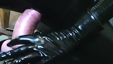 Latex bondage bagged handjob, blowjob and fuck