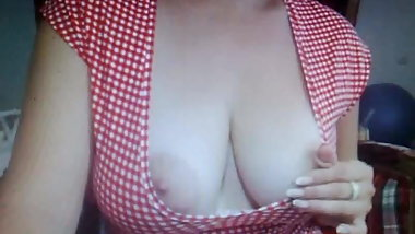 Beautiful natural big tits playing 2