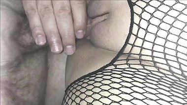 Teen GF fucked in fishnets with creampie