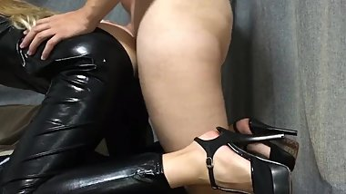 Blonde in latex cat suit - hot sex