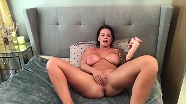 Tattooed Ditry Brunette Plays with her new toy