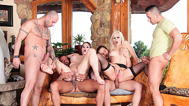SLAM US - Hot gang bang with two busty MILFs