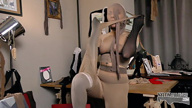 Encased young nun whoring with pantyhose