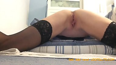 Watch mommy rub and finger fuck my wet pussy