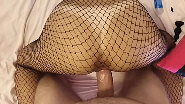 18 yo Amateur Fit Teen in Fishnets Fuck Hard Cock POV