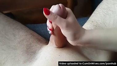Mix tape of real wives giving awesome handjobs with big cumshots