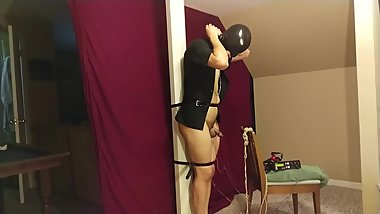 Immobile Pole Bondage and E-Stim Torment
