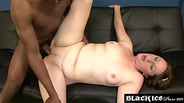 Inked minx Acacia Skye eats jizz after big cock interracial