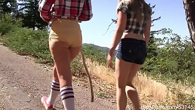 Hiking with 2 chicks in hot shorts
