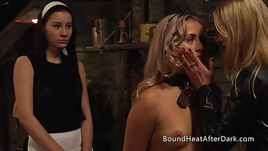 New Arrivals:Submissive Lesbian Slave With Chains And Collar