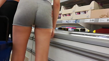 Shorts Up Knickerless Arse Crack in Supermarket - Oh Wow