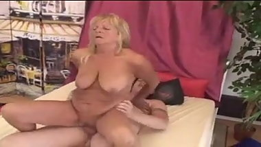 Sexy granny Lola loves dildo and young cock