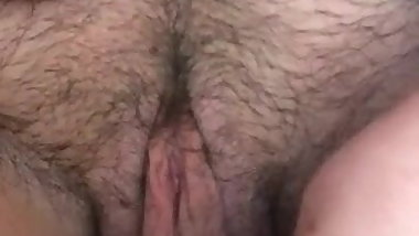 Hairy dildo masturbation